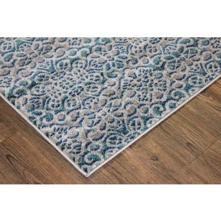 Grey/ Turquoise Indoor Area Rug (2'8 x 4'7)