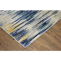 Silver/ Turquoise/ Yellow Indoor Area Rug