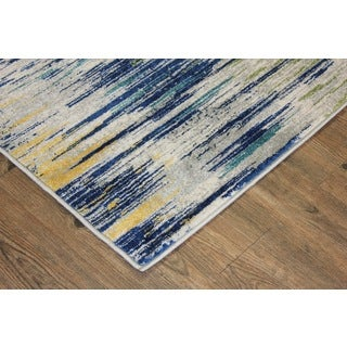 Silver/ Turquoise/ Yellow Indoor Area Rug - 2'8 x 4'7