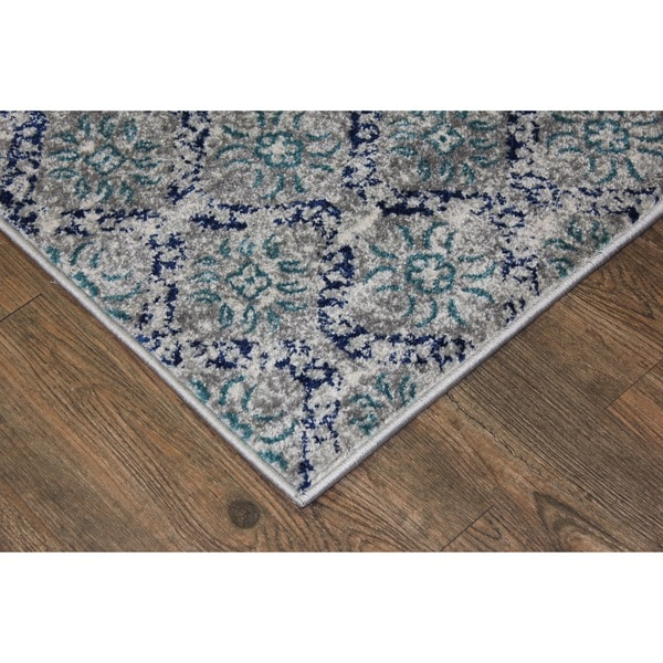 Shop Silver Turquoise Indoor Area Rug 2 8 X 4 7 Free