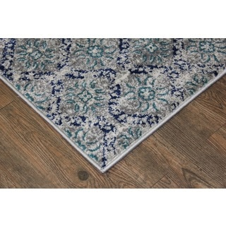 Silver/ Turquoise Indoor Area Rug (2'8 x 4'7)
