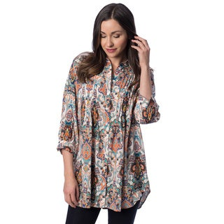 Women's Paisley Print Tuxedo Pleat 3/4 Sleeve Tunic