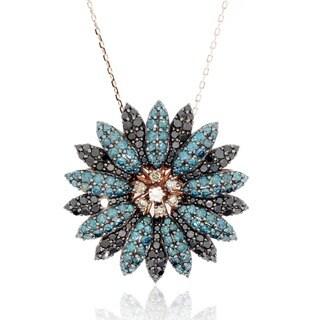 Suzy Levian 14K Rose Gold Blue, Black and White Diamond Pendant