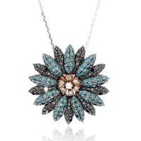 Suzy Levian 14K Rose Gold Blue, Black and White Diamond Pendant - Blue