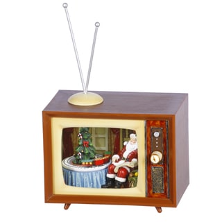 Mini TV Musicbox Rectangular Shape 9 Inches Tall - Brown Red