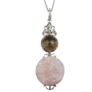 Dallas Prince Silver Smokey Quartz & Rose Quartz Pendant