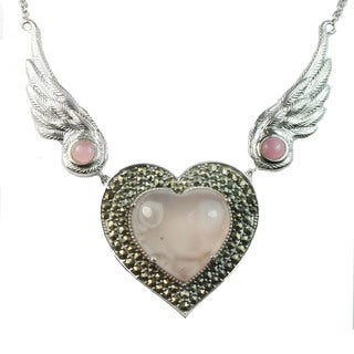 Dallas Prince Silver Pink Agate & Rose Quartz Heart Necklace