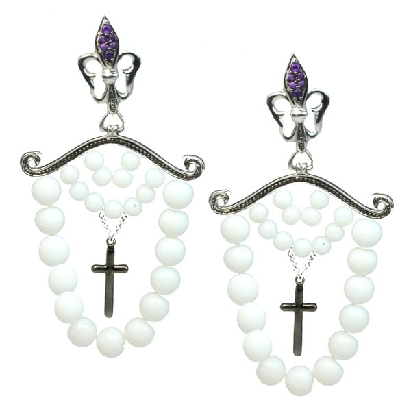 Dallas Prince Silver White Agate & Ametrine Cross Dangle Earrings