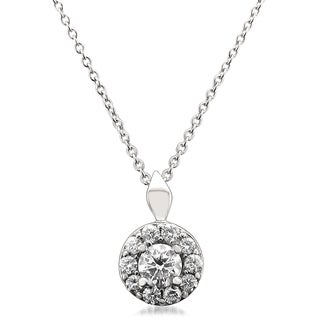 Montebello 14k White Gold 1/2ct TDW Round-cut IGI Certified Diamond Halo Pendant (H-I, I1)