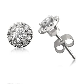 Montebello 14k White Gold 1/2ct TDW Round-cut IGI Certified Diamond Halo Stud Earrings (H-I, I1)