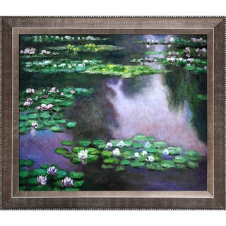 Claude Monet 'Water Lilies' (green and violet) Hand Painted Framed Canvas Art
