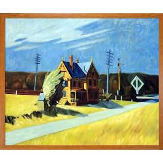 Edward Hopper 'Railroad Crossing, 1923' Hand Painted Framed Canvas Art