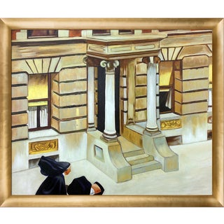 Edward Hopper 'New York Pavements, 1924' Hand Painted Framed Canvas Art