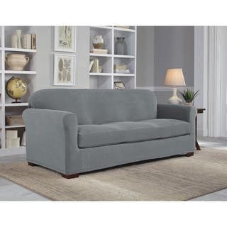 Tailor Fit Microsuede Stretch Grid 2 Piece Sofa Slipcover