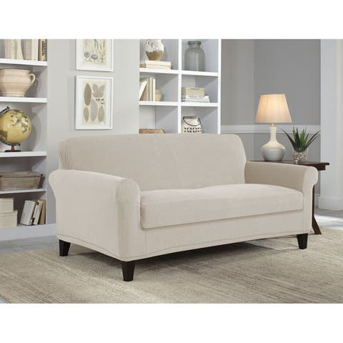 Tailor Fit Stretch Grid 2-piece Box Loveseat Slipcover