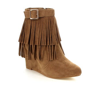 Beston GA77 Women's Stylish Fringe Trim Wedge Heel Side Zipper Ankle Boots