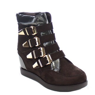 AFFINO BOTCH-112 Woman's Buckle Strap Side Zip Wedges Sneakers High Top Booties