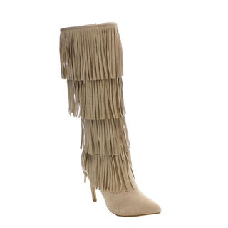 Beston DA25 Women's Stiletto 4-layers Fringe Over The Knee High Boots