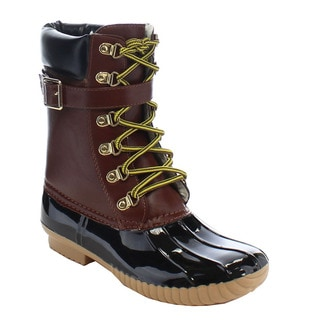 Beston DA14 Women's High Top Lace Up Two Tone Duck Design Booties