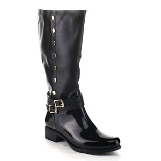 Beston CB55 Women's Buckle Knee High Riding Rain Boots