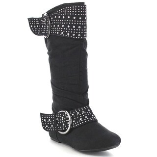 Blue Suede Shoes K-LORENA-STUD-H Kid's Soft Knee High Flat Slouchy Riding Boots