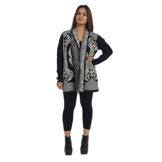 Ella Samani Women's Black/ White Abstract Cardigan