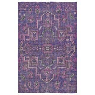 Hand-Knotted Vintage Purple Heriz Rug (4'0 x 6'0)