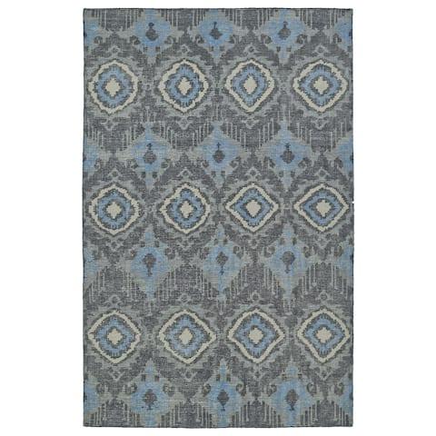 "Hand-Knotted Vintage Charcoal Boho Rug (5'6 x 8'6) - 5'6"" x 8'6"""