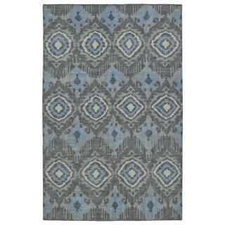 Hand-Knotted Vintage Charcoal Boho Rug (4'0 x 6'0)