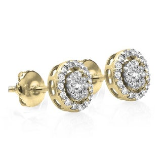 10k Gold 1/2ct TDW Diamond Round Cluster Earrings (I-J, I1-I2)