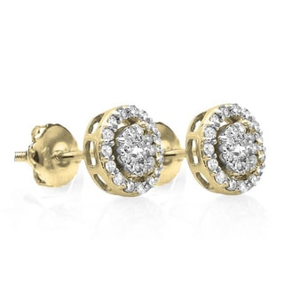 Elora 14k Gold 1/ 2ct TDW Round Diamond Cluster Earrings (I-J, I1-I2)