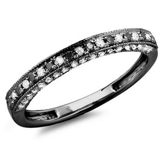 10k Black Gold 2/5ct TDW Diamond Wedding Band Enhancer Guard Ring (H-I, I1-I2)