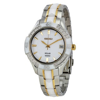 Seiko Ladies Solar Stainless Steel and White Ceramic Watch