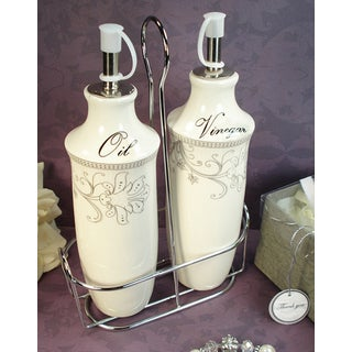 D'Lusso Designs Damask Design 2-piece Oil Vinegar Cruet Set with Metal Caddy