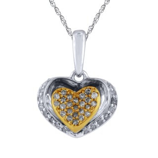 Bridal Symphony Sterling Silver with 10k Yellow Gold Plate 1/6CTtw Diamond Heart within Pendant (I-J, I2-I3)
