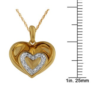 Bridal Symphony 10k Yellow Gold Heart within 0.06ct Diamond Accent Pendant (I-J, I2-I3)