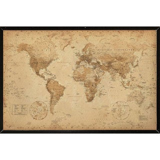 Global gallery joannoo gilded 1859 map of the world stretched world map antique wall plaque sciox Images