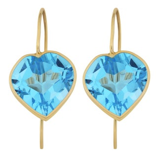 Fremada 14k Yellow Gold 12-mm Blue Topaz Heart Hook Earrings