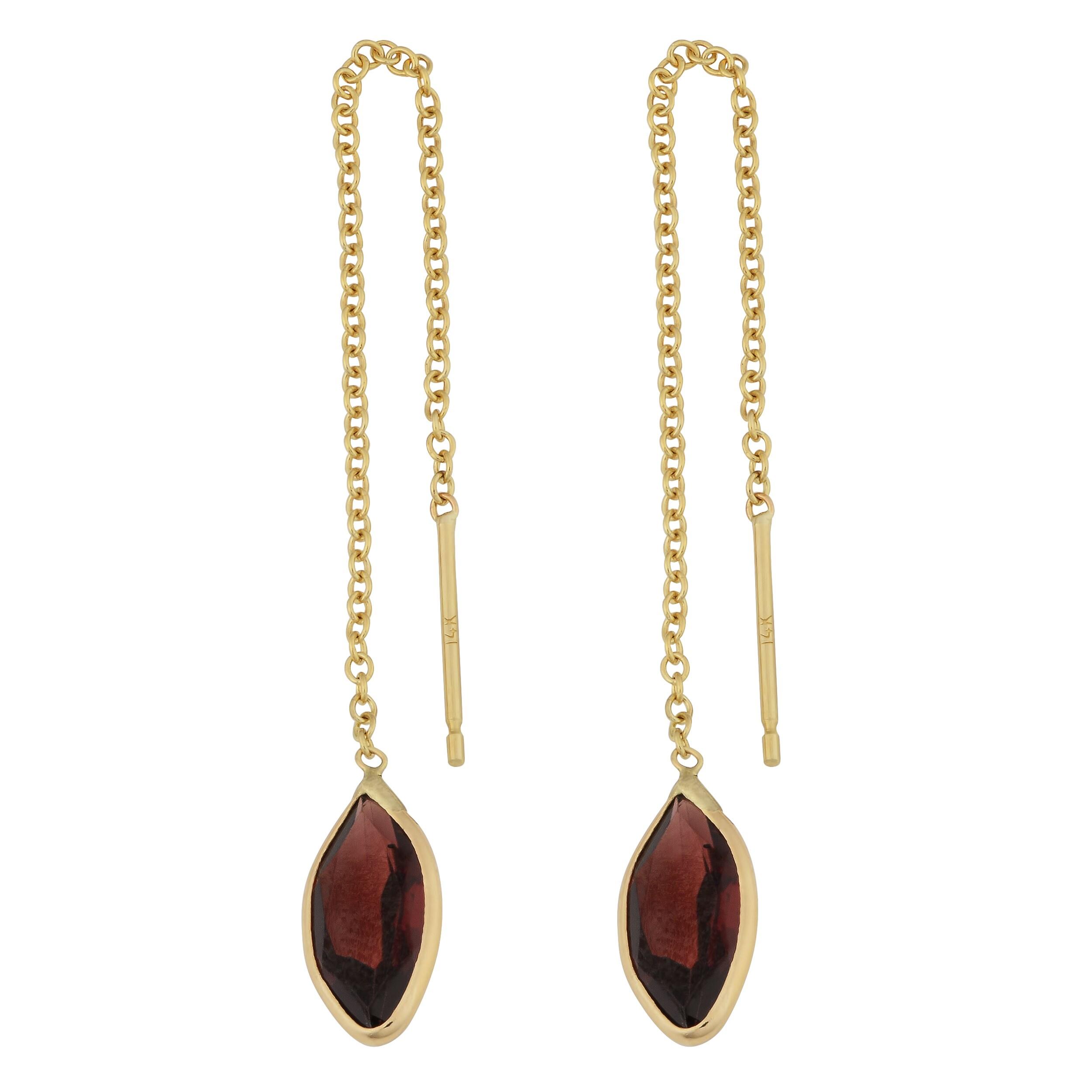 Fremada 14k Yellow Gold Marquise Garnet Threader Earrings