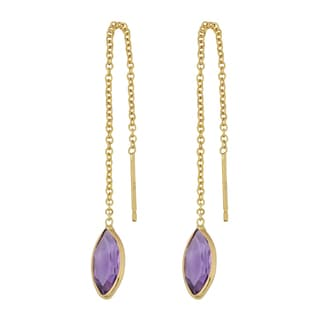 Fremada 14k Yellow Gold Marquise Amethyst Threader Earrings