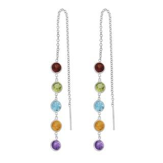 Fremada 14k White Gold Round Multi Semi-precious Stones Threader Earrings