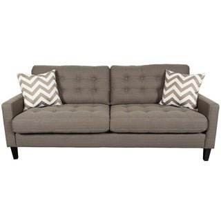 Porter Hamilton Otter Taupe Sofa with Woven Chevron Accent Pillows