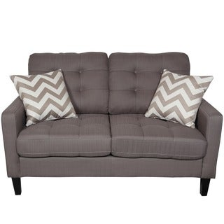 Porter Hamilton Otter Taupe Contemporary Loveseat with Woven Chevron Accent Pillows