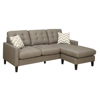 Porter Hamilton Otter Taupe Chofa with Woven Chevron Accent Pillows