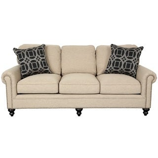 Porter Isabelle Cream Linen Look Sofa with Woven Accent Pillows and Nail Head Trim