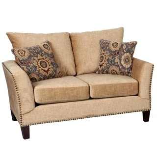 Porter Southern Accent Camel Microfiber Loveseat with Woven Ikat Accent Pillows and Nail Head Trim
