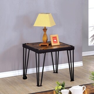 Link to Furniture of America Fizi Industrial Black Wood Square End Table Similar Items in Living Room Furniture
