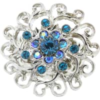 1928 Jewelry Silvertone Blue Zircon Color and Light Blue Flower Crystal Stretch Ring