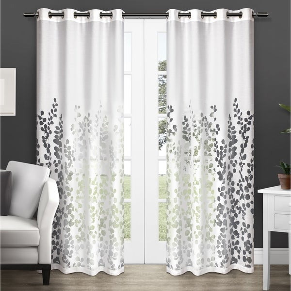 ATI Home Wilshire Burnout Sheer Curtain Panel Pair with Grommet Top