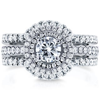 Annello By Kobelli 14k White Gold 1 1 8ct TDW Round Diamond Classic Halo 3 Piece Bridal Rings Set